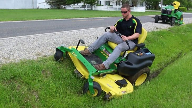 mowing ditches with zero turn lawn mower