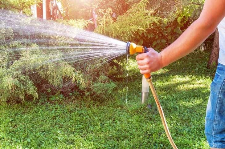 watering the lawn with handheld sprayer gun
